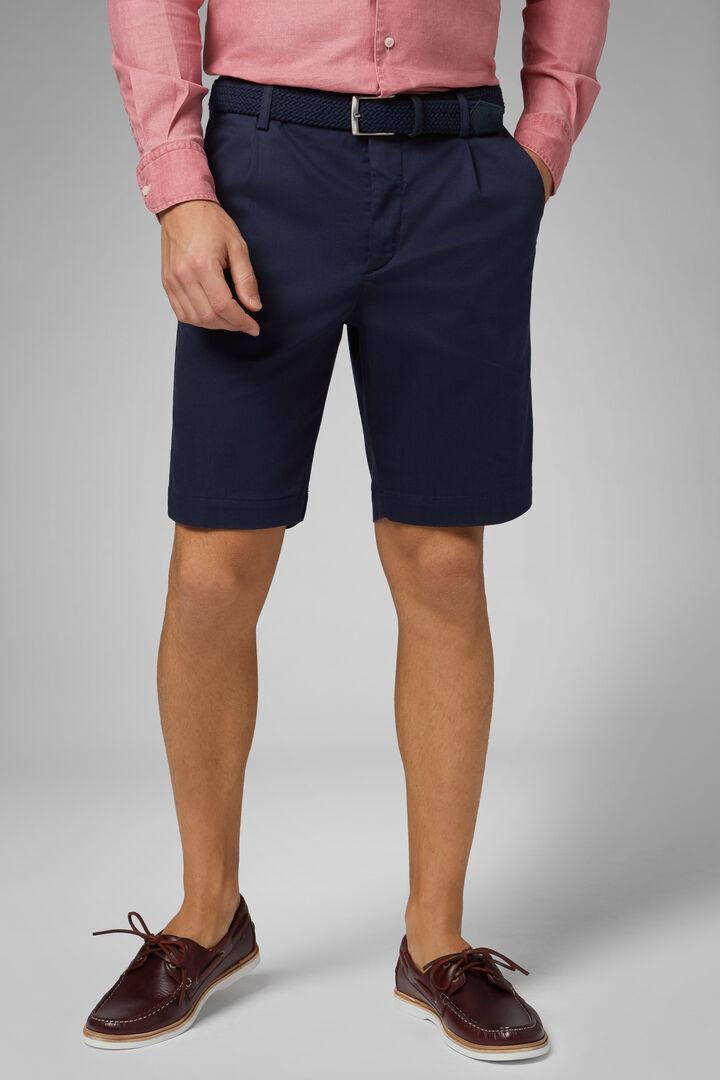 Plain Cotton & Tencel Pleated Bermuda Shorts, Blue, hi-res