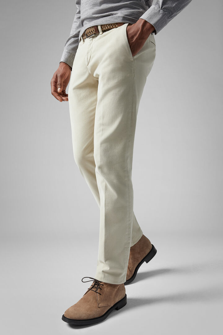 Pantalone In Cotone Tencel Broken Twill Slim, Naturale, hi-res
