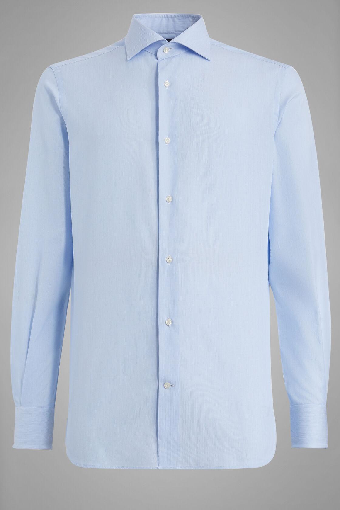 Camicia A Righe Azzurre Collo Windsor Regular Fit, Azzurro, hi-res