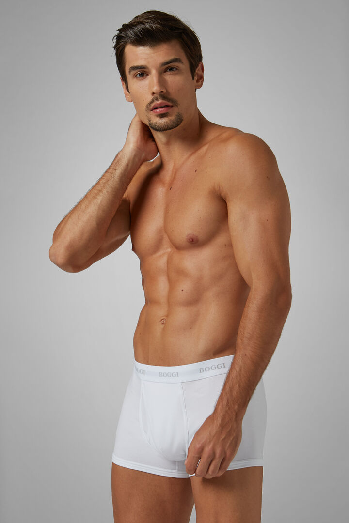 White Stretch Cotton Boxer Briefs, White, hi-res