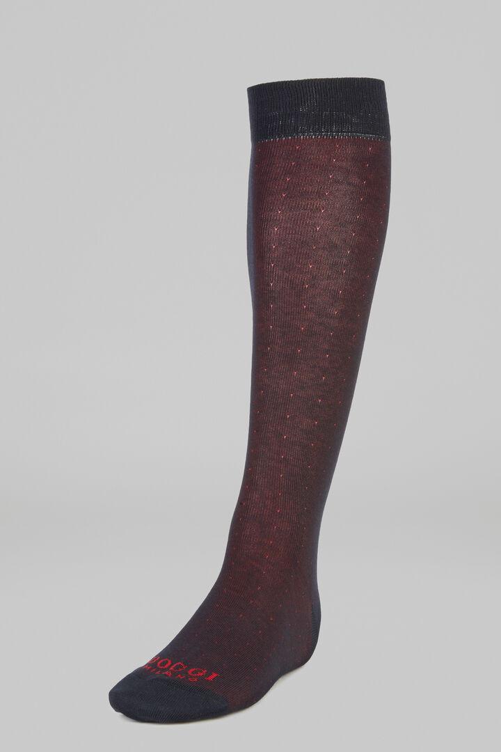 Micro Polka Dot Long Socks, Burgundy, hi-res