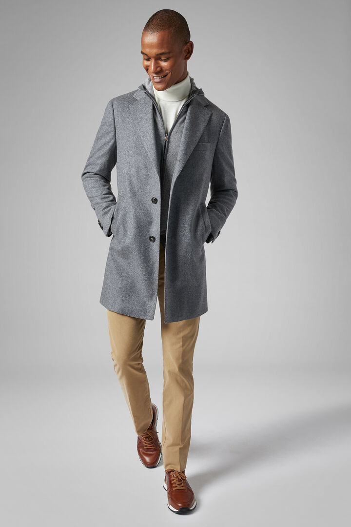 Single-Breasted Cashmere Coat, Grey, hi-res