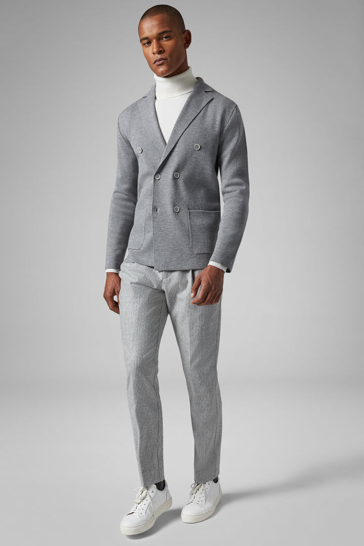 Double-Breasted Milano Stitch Merino Jacket, Grey, hi-res