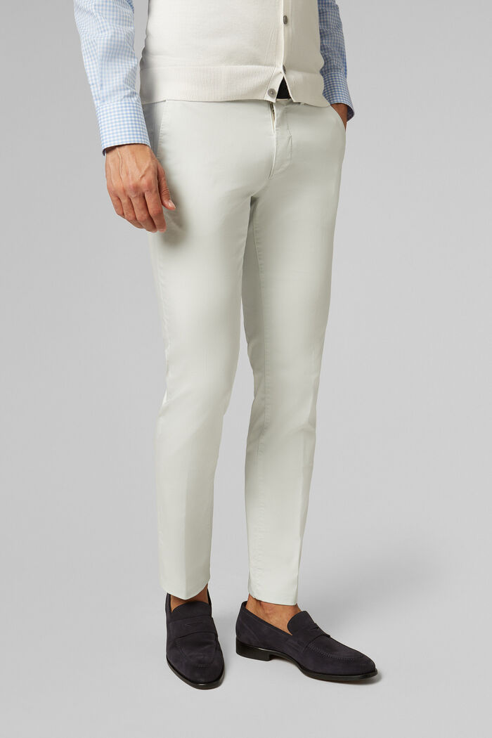 PANTALON EN SATIN DE COTON STRETCH COUPE SLIM, , hi-res