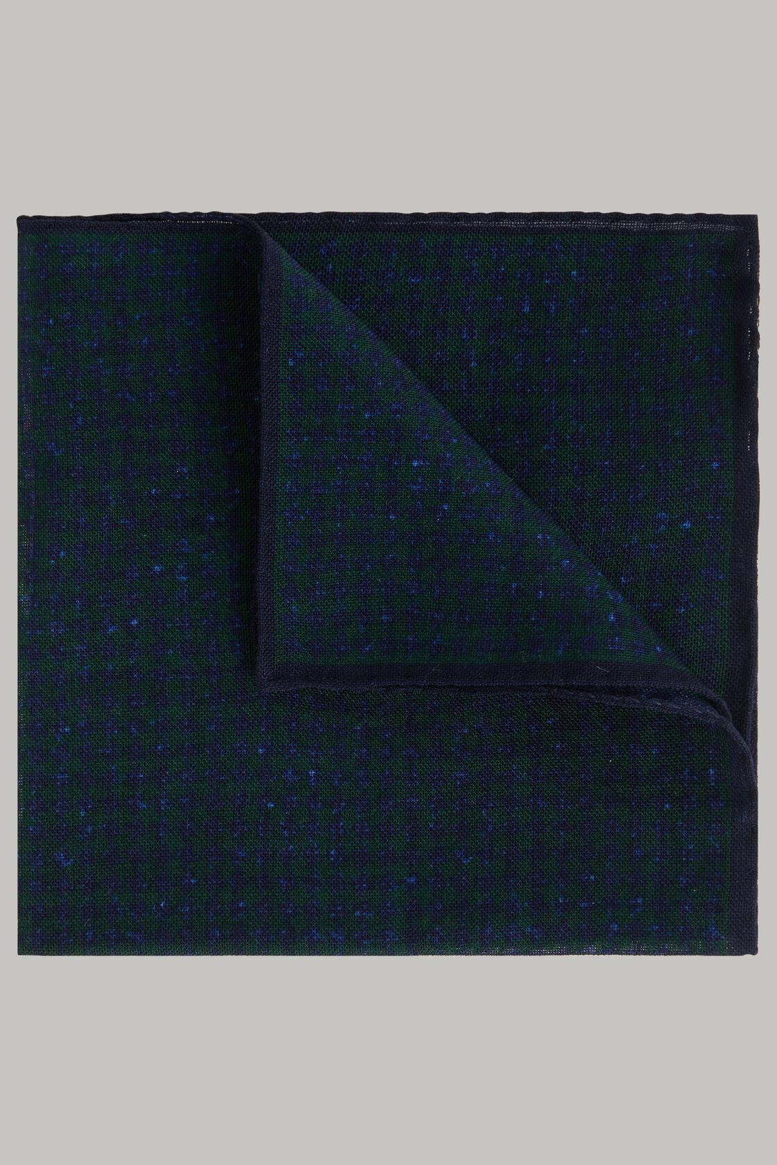 Pochette pied de poule in lana, Verde - Blu, hi-res