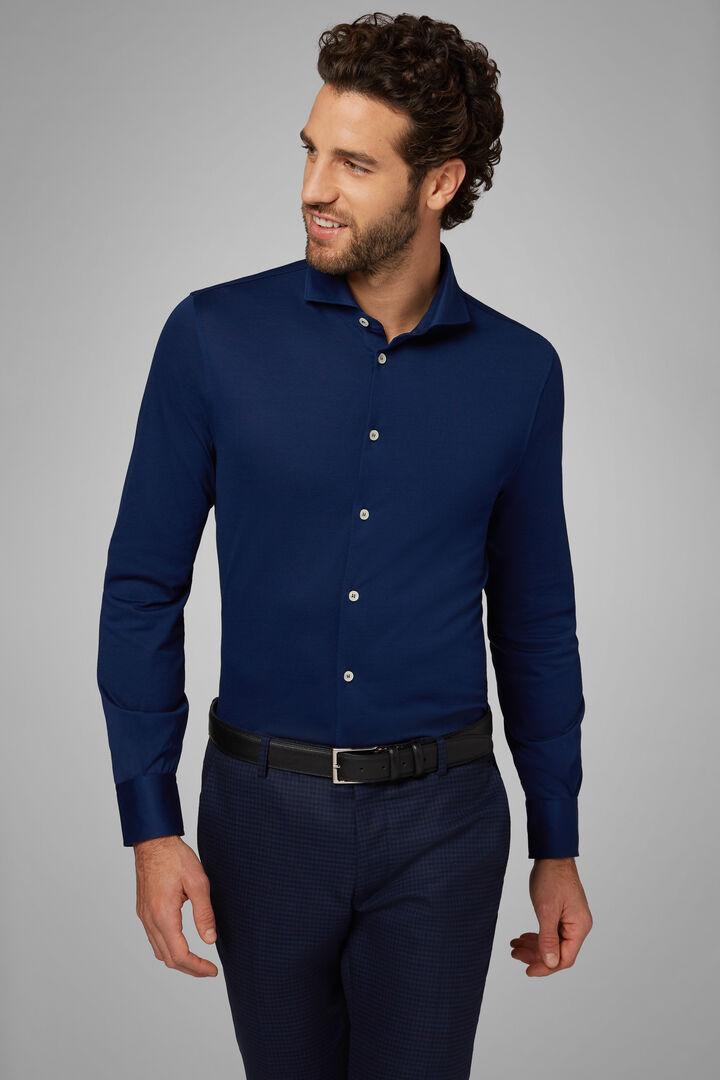 Polo Camicia Nera Collo Aperto Slim Fit, Bluette, hi-res