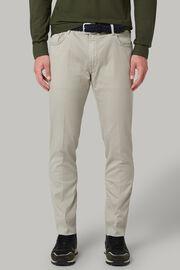 Pantalone 5 Tasche In Cotone Gabardina Tencel Regualr Fit, Grigio, hi-res