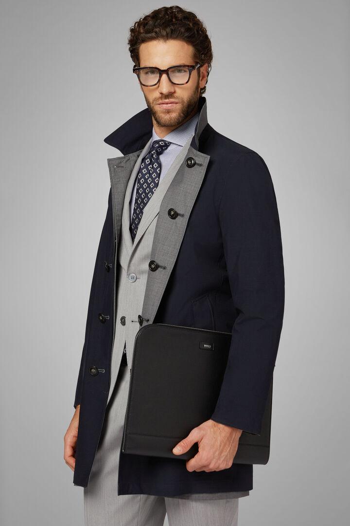 Reversible Wool Raincoat, Grey - Blue, hi-res