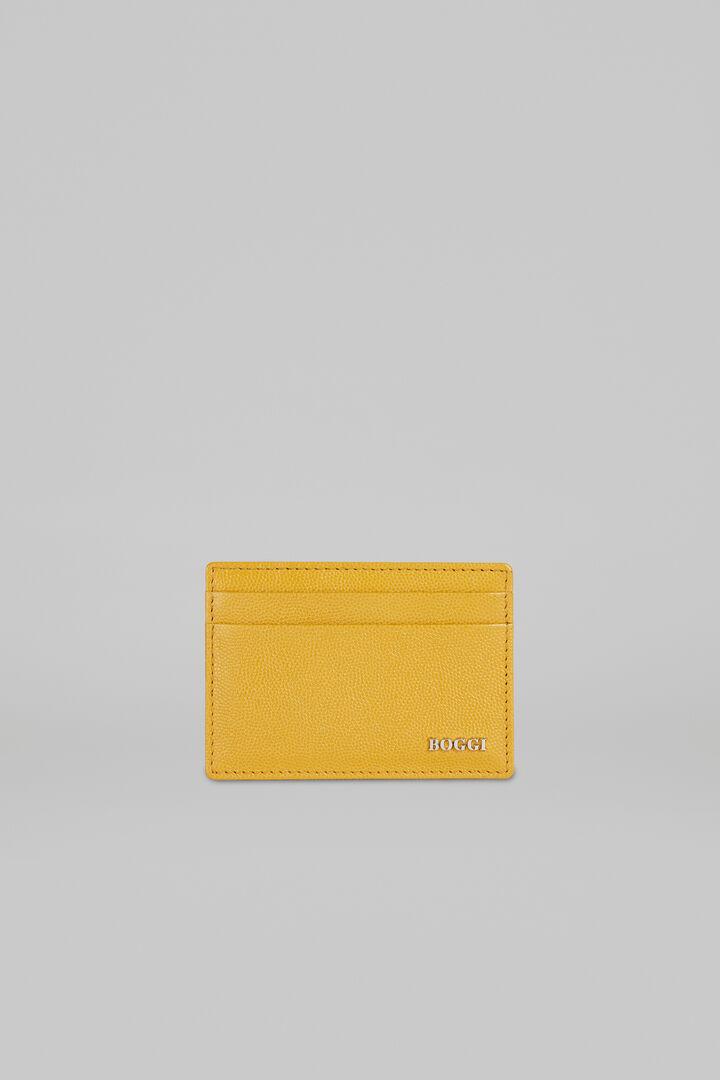 Caviar Leather Credit Card Holder, Mustard, hi-res