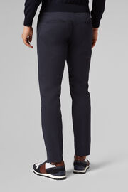 PANTALONE IN COTONE CON COULISSE SLIM FIT, NAVY, hi-res