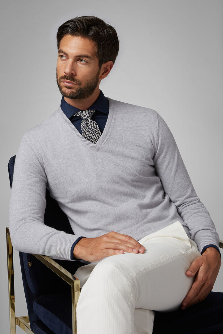 Pure Cashmere V-Neck Jumper, Grey, hi-res