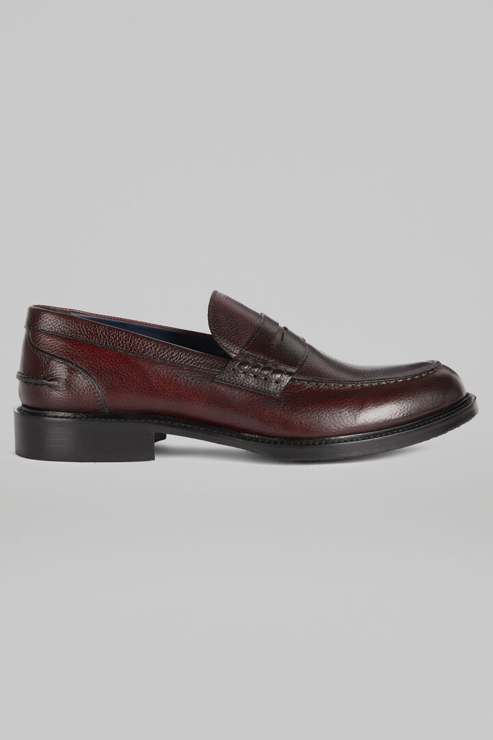 Tanned Tumbled Leather Loafers, Burgundy, hi-res
