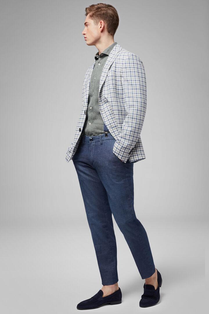 Grey-Blue Wool Blend Aria Blazer, Grey - Blue, hi-res