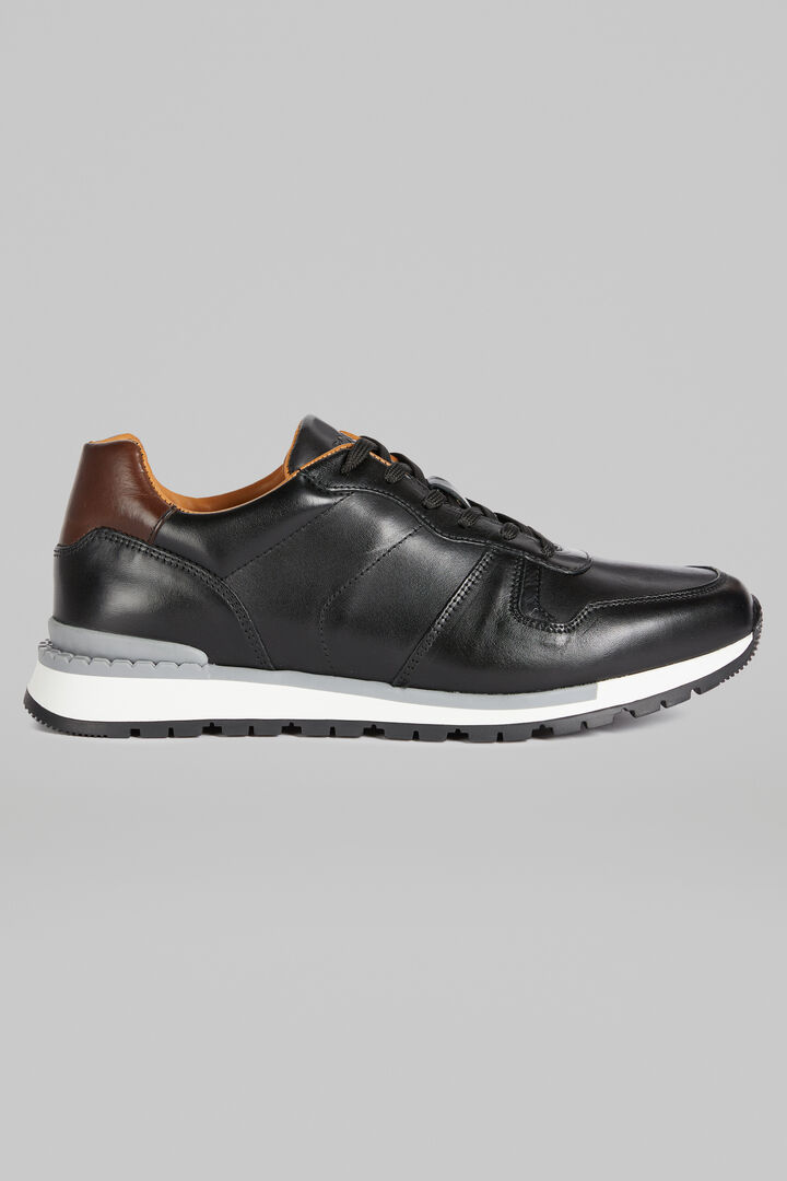 Leather Running Trainers, Black, hi-res