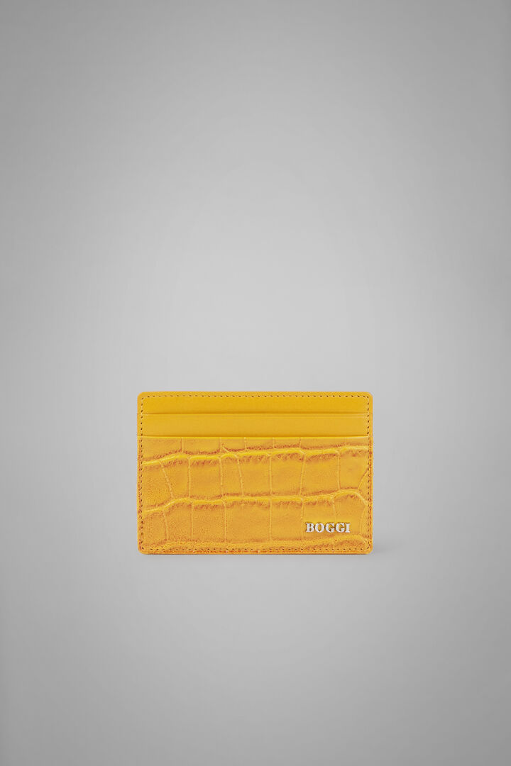 Faux Croc Print Leather Credit Card Holder, Yellow, hi-res