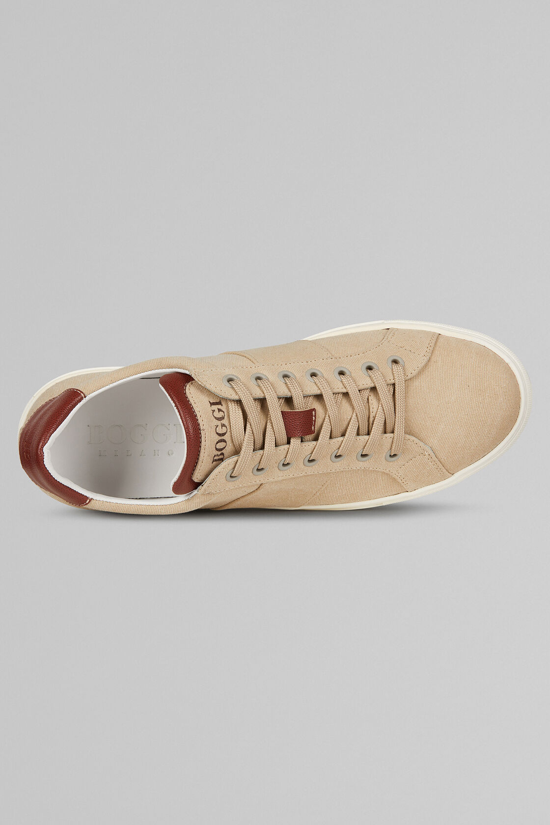 SNEAKERS IN COTONE, CUOIO - BEIGE, hi-res