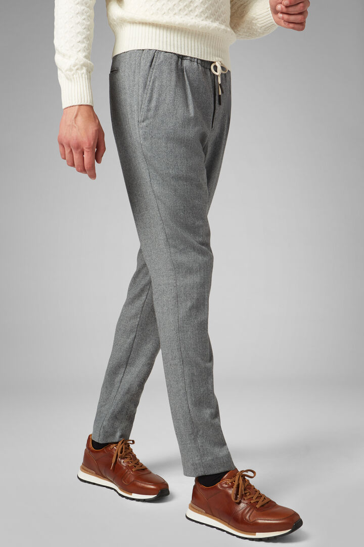 Regular Fit Washable Wool Flannel Trousers, Light grey, hi-res