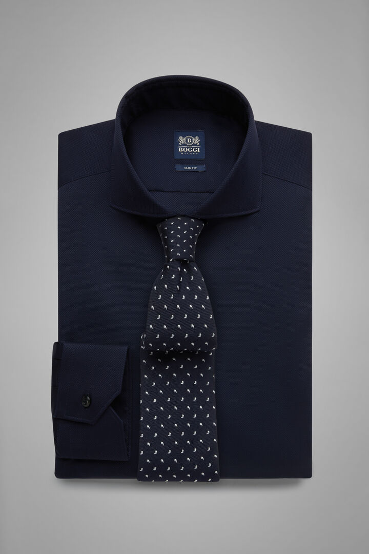 Slim Fit Navy Blue Shirt With Naples Collar, Navy blue, hi-res