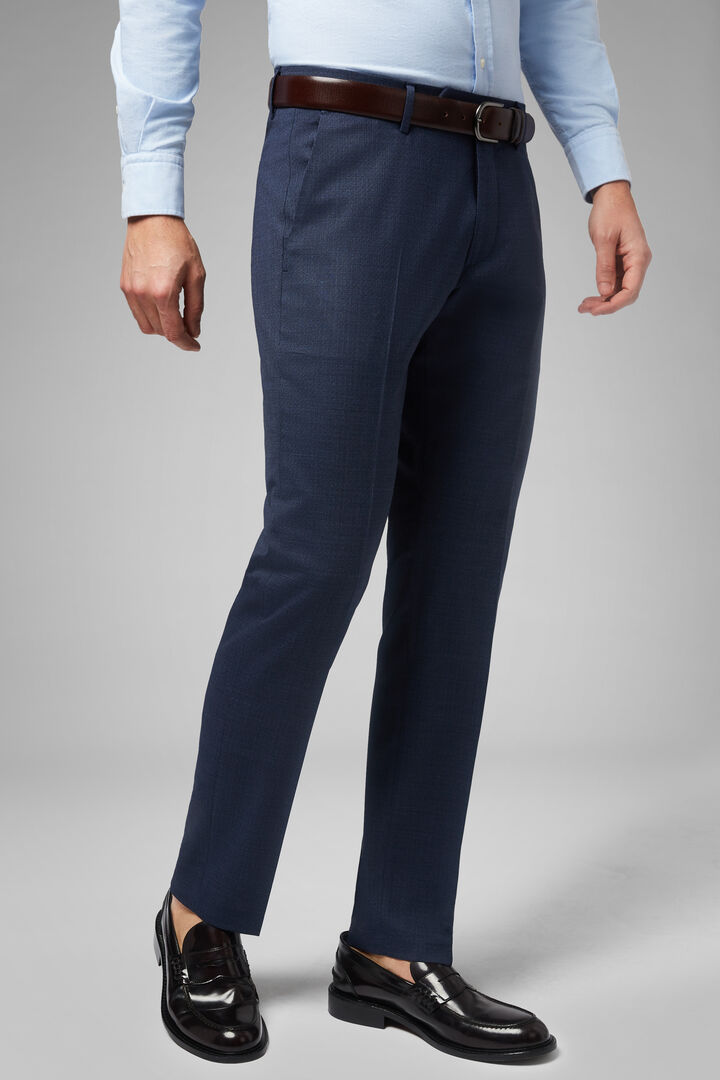 Regular Fit Machine Washable Stretch Wool Trousers, Blue, hi-res