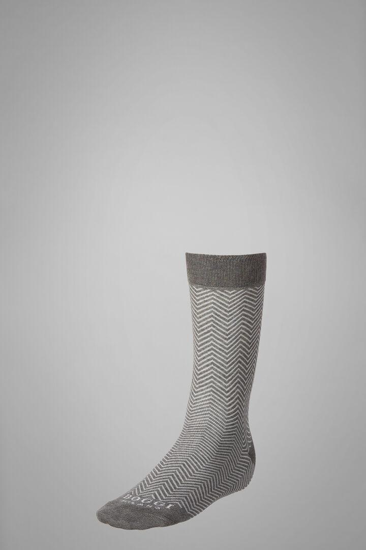 Short Socks With Macro Herringbone Motif, Grey - White, hi-res