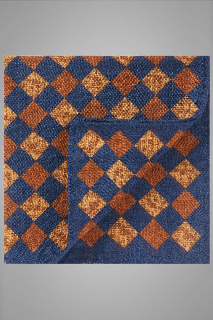 Pañuelo De Bolsillo De Lana Y Seda Con Estampado, Azul - Naranja, hi-res