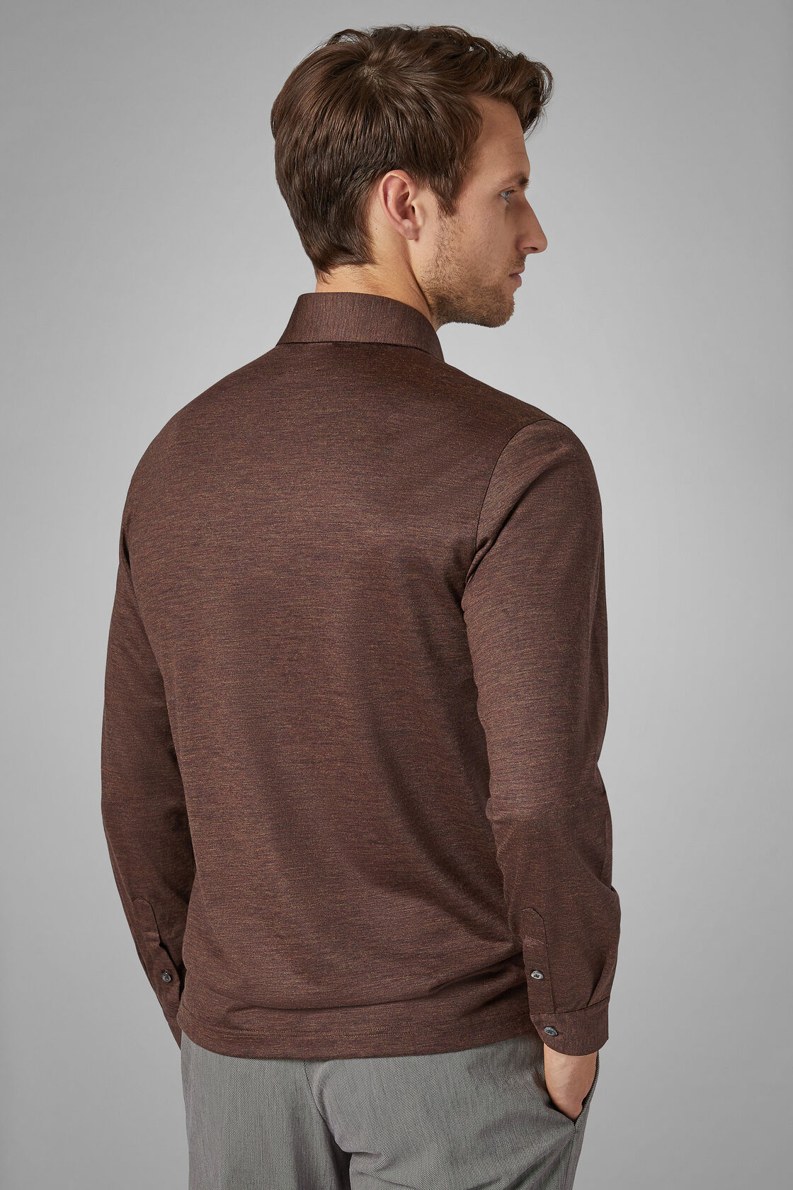 Slim Fit Merino Jersey Polo Shirt, Brown, hi-res
