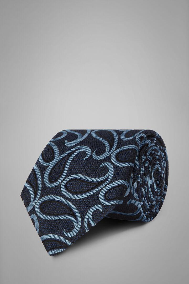 Cravatta Macro Paisley In Seta Jacquard, Blu - Azzurro, hi-res