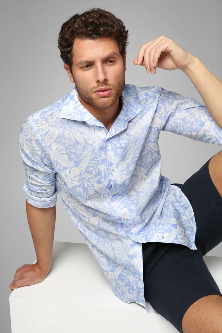 Regular Fit Sky Blue Print Shirt With Cuban Collar, Light blue - White, hi-res