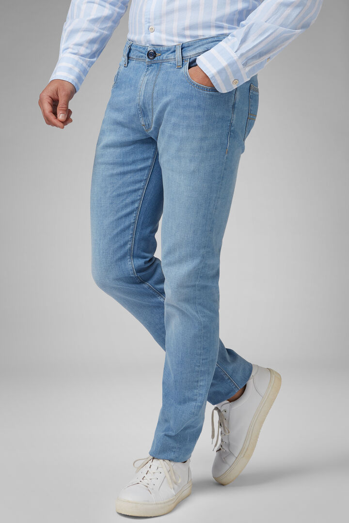 Pantalon 5 Poches En Denim Light Wash Coupe Droite, toile de jean, hi-res