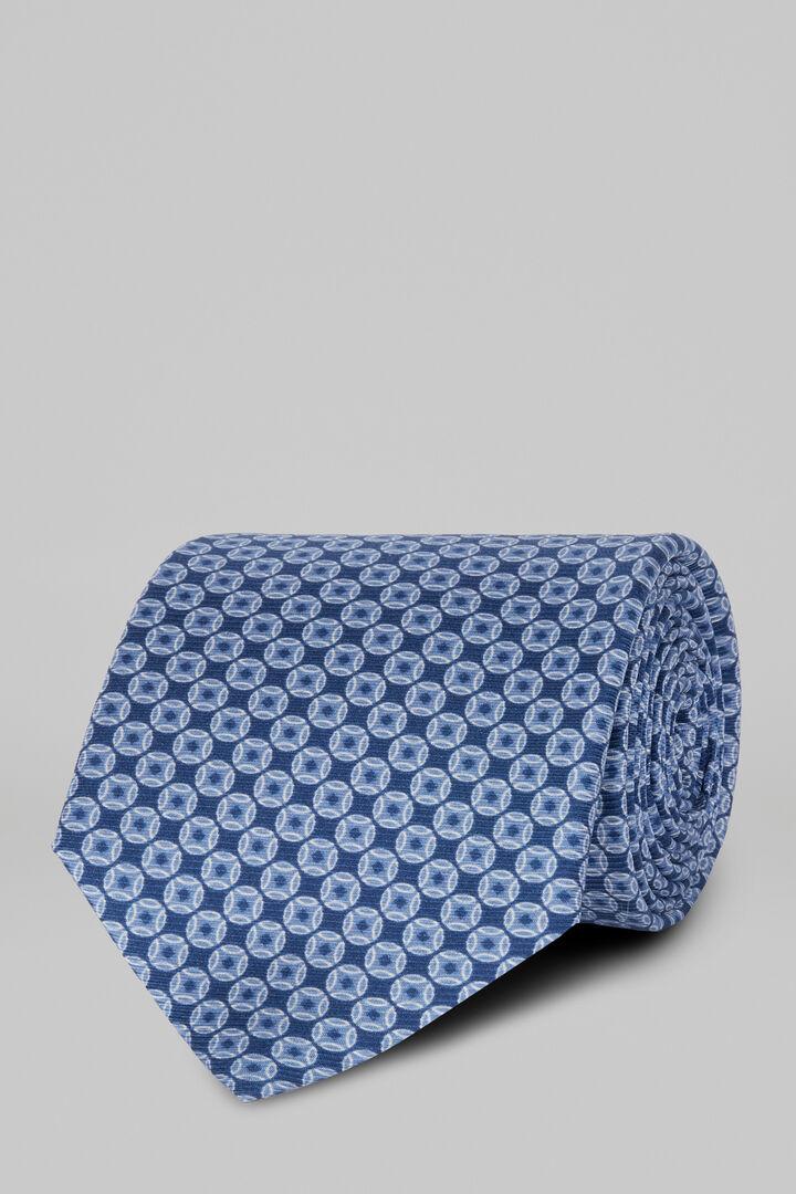 Cravatta Fantasia In Seta Stampata, Blu - Azzurro, hi-res
