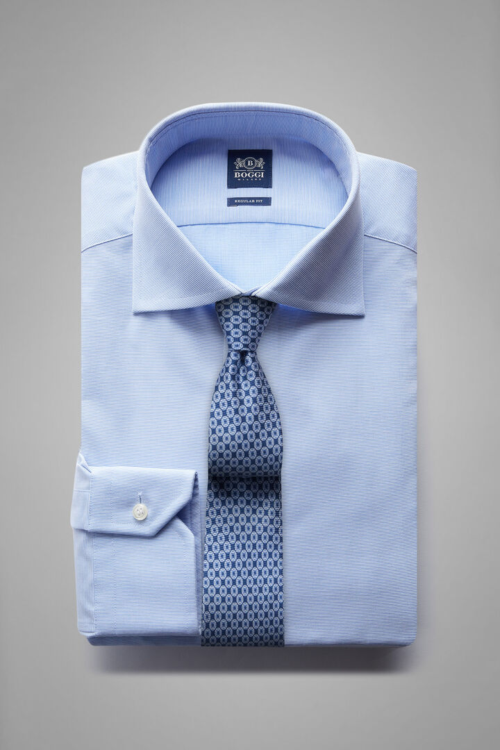 Regular Fit Sky Blue Shirt With Windsor Collar, Light blue, hi-res
