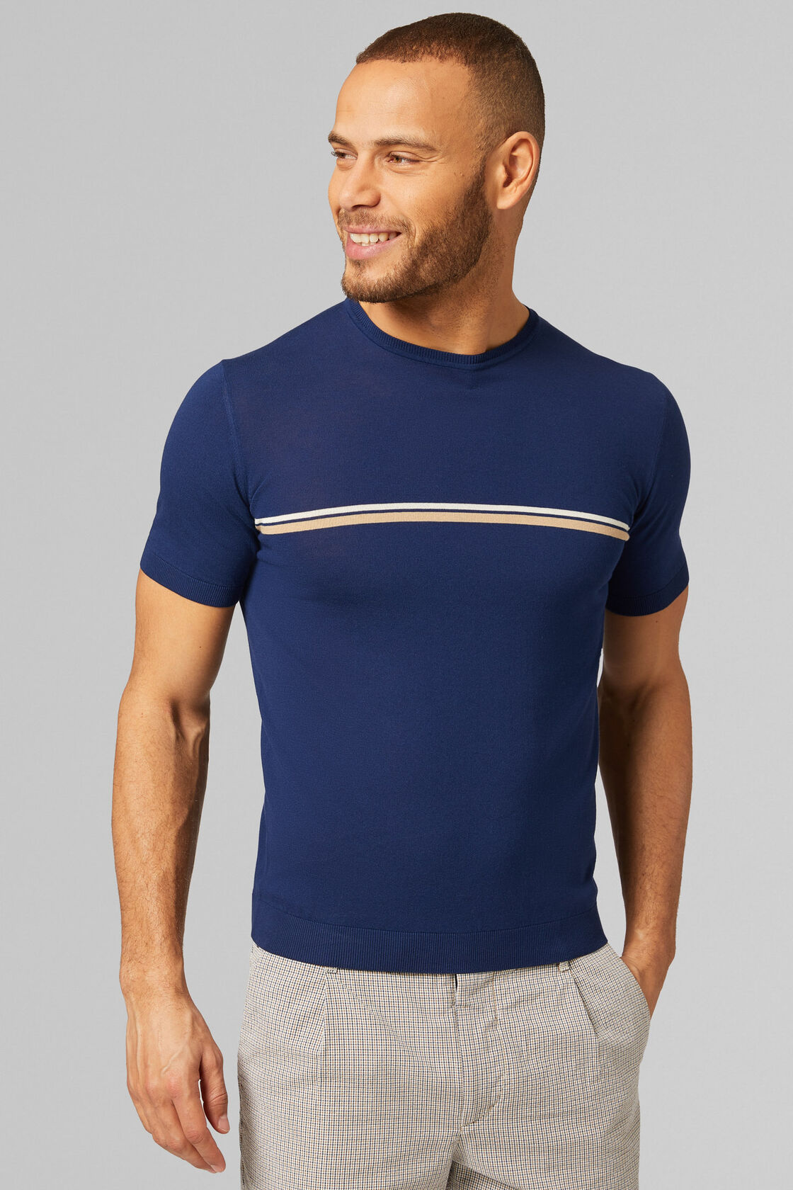 T-SHIRT IN COTONE CRÊPE, NAVY, hi-res