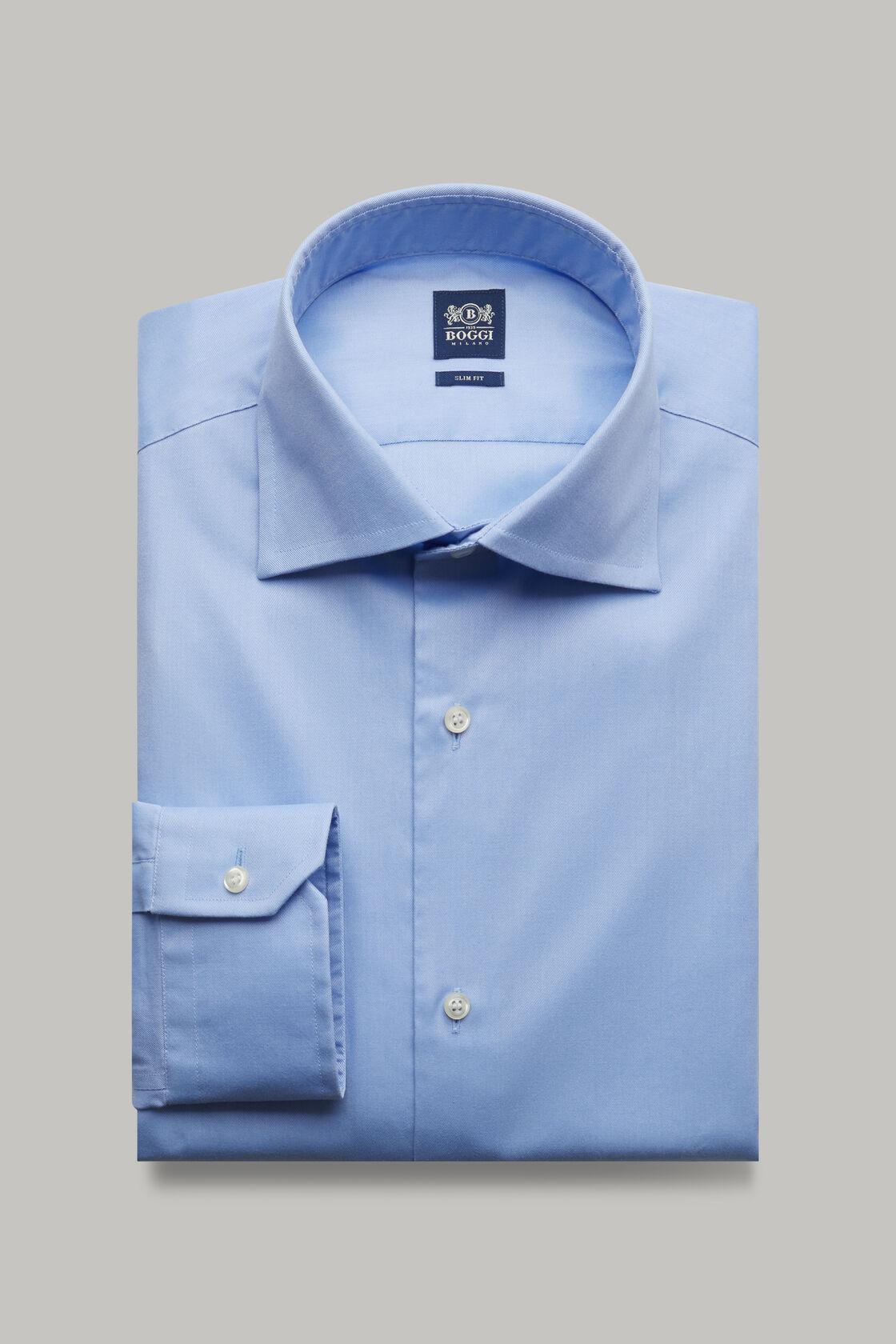 Azurblaues hemd aus baumwolltwill slim fit, Hellblau, hi-res