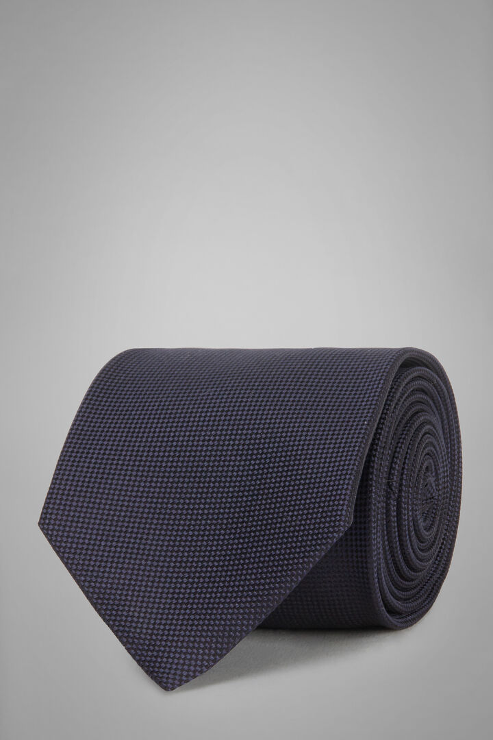 Micro Structured Silk Jacquard Tie, Navy blue, hi-res