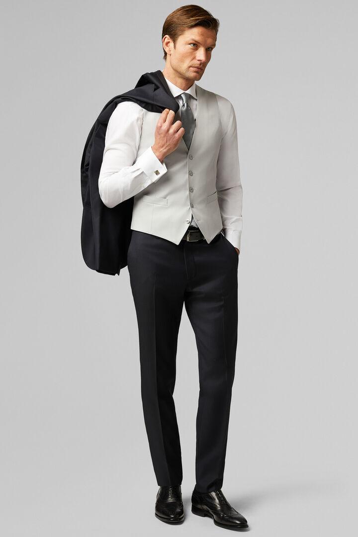 Slim Fit Pearl Grey Wool Formal Waistcoat, Grey pearl, hi-res