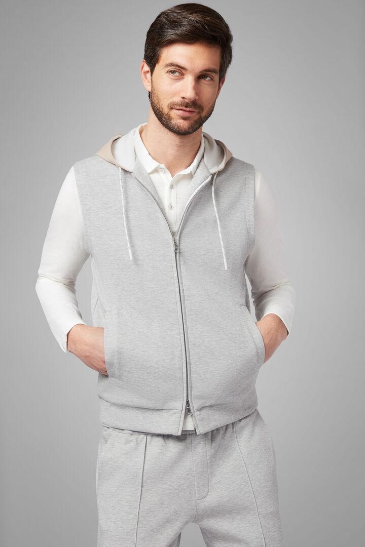 Sleeveless Hooded Sweatshirt In Stretch Cotton, Grey, hi-res