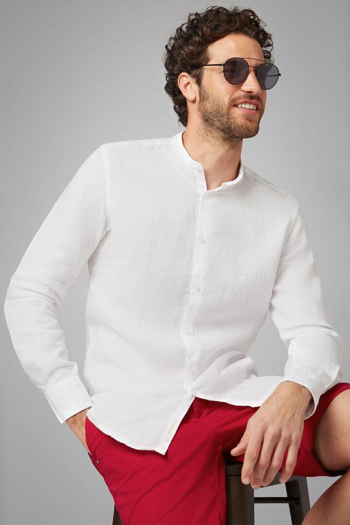 Camisa Regular Fit Blanca Con Cuello Mao, Blanco, hi-res