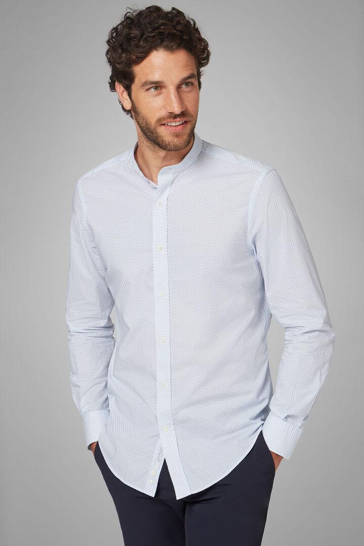 Camicia Stampata Collo Coreano Regular Fit, Azzurro, hi-res