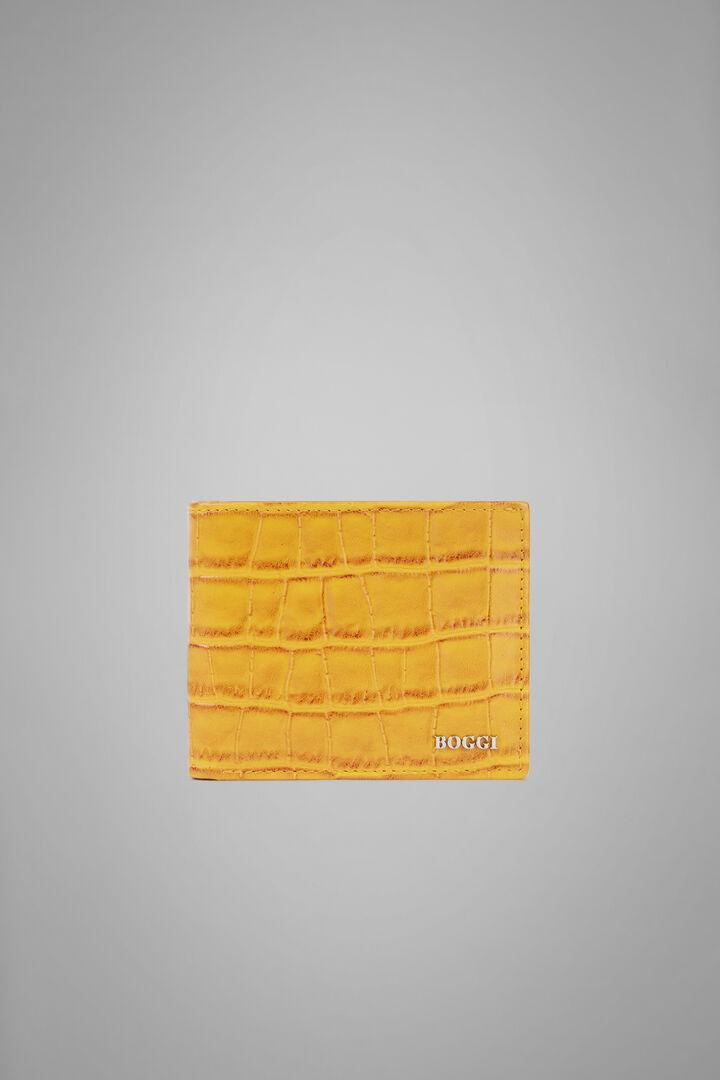 Grosse Kartenbörse Für Kreditkarten Aus Leder Mit Kokosnuss-Prägung, Gelb, hi-res