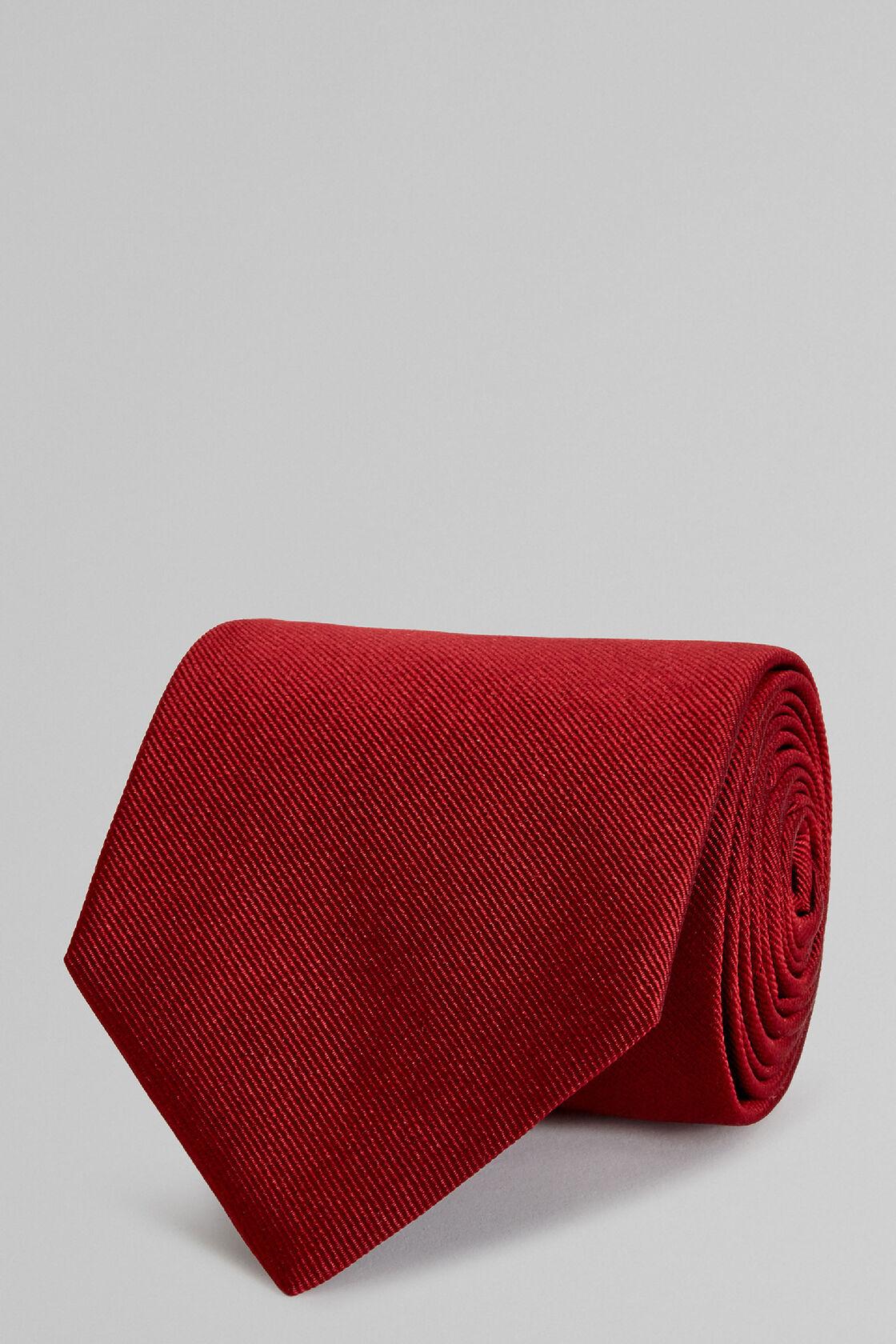 Einfarbige Krawatte Aus Seidenjacquard Bordeaux, Burgund, hi-res