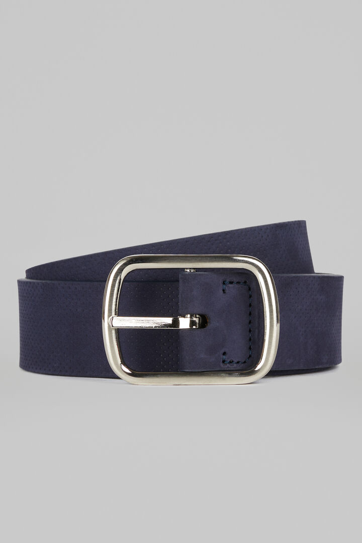 Reversible Nubuck And Leather Belt, Blue - Brown, hi-res