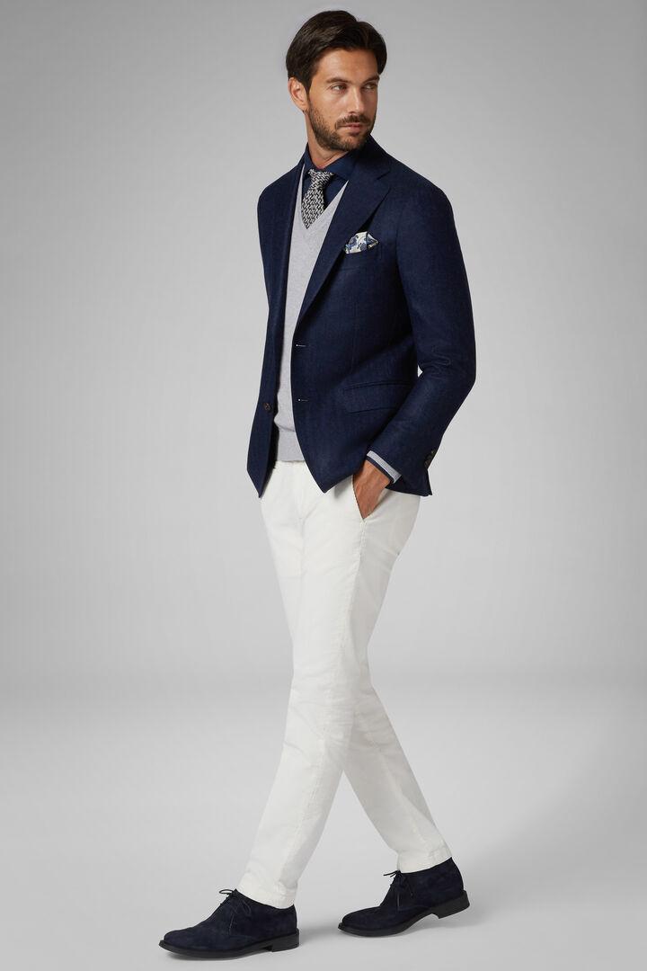 Blazer Blu Napoli In Cashmere Mohair Seta, Blu, hi-res