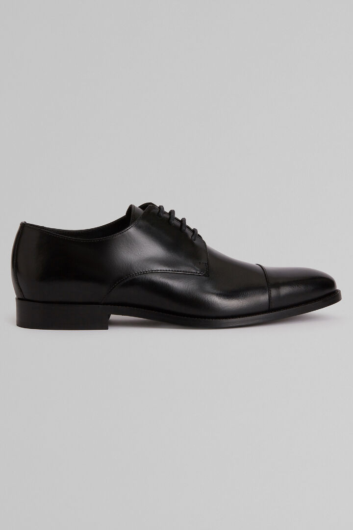 Smooth Leather Derby Shoes With Leather Soles, Black, hi-res