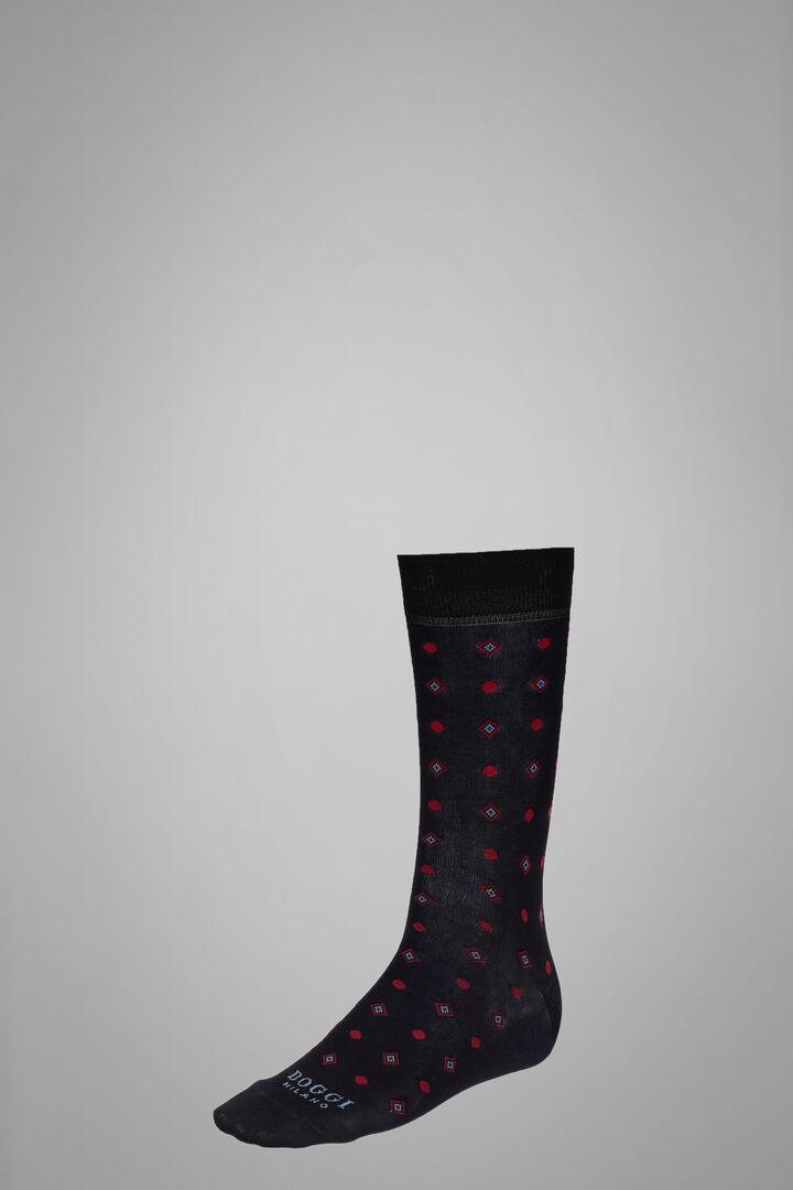 Short Socks With Geometric Motif, Navy - Burgundy, hi-res