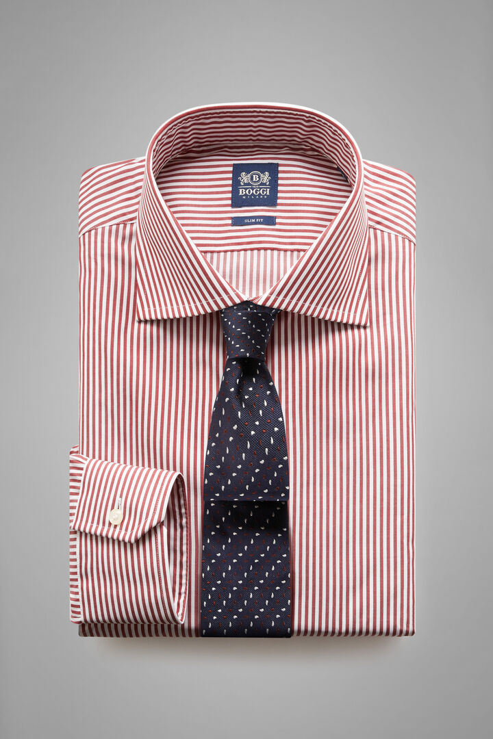 Slim Fit Burgundy Striped Shirt With Windsor Collar, White - Burgundy, hi-res