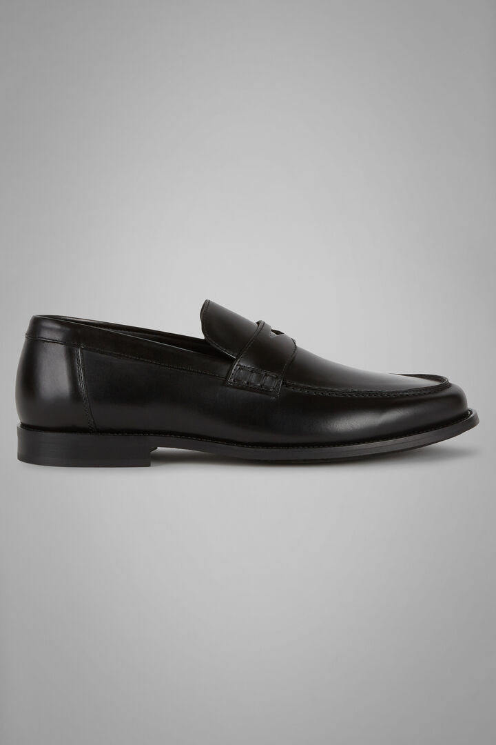 Smooth Leather Loafers With Rubber Soles, Black, hi-res