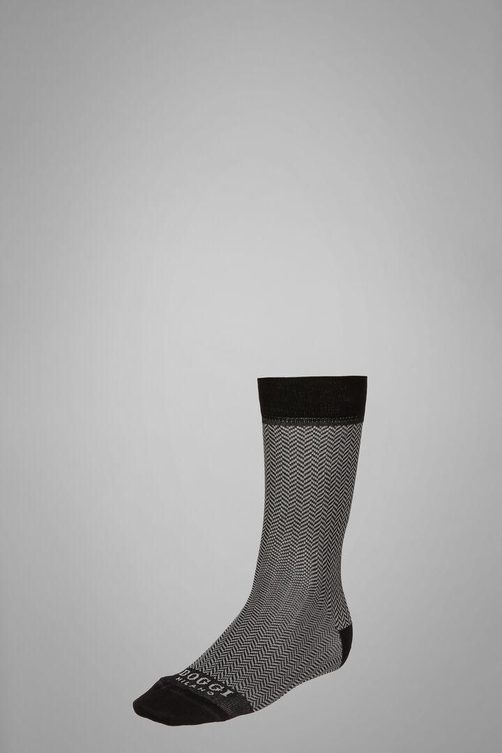 Short Socks With Micro Herringbone Motif, Black - Grey, hi-res
