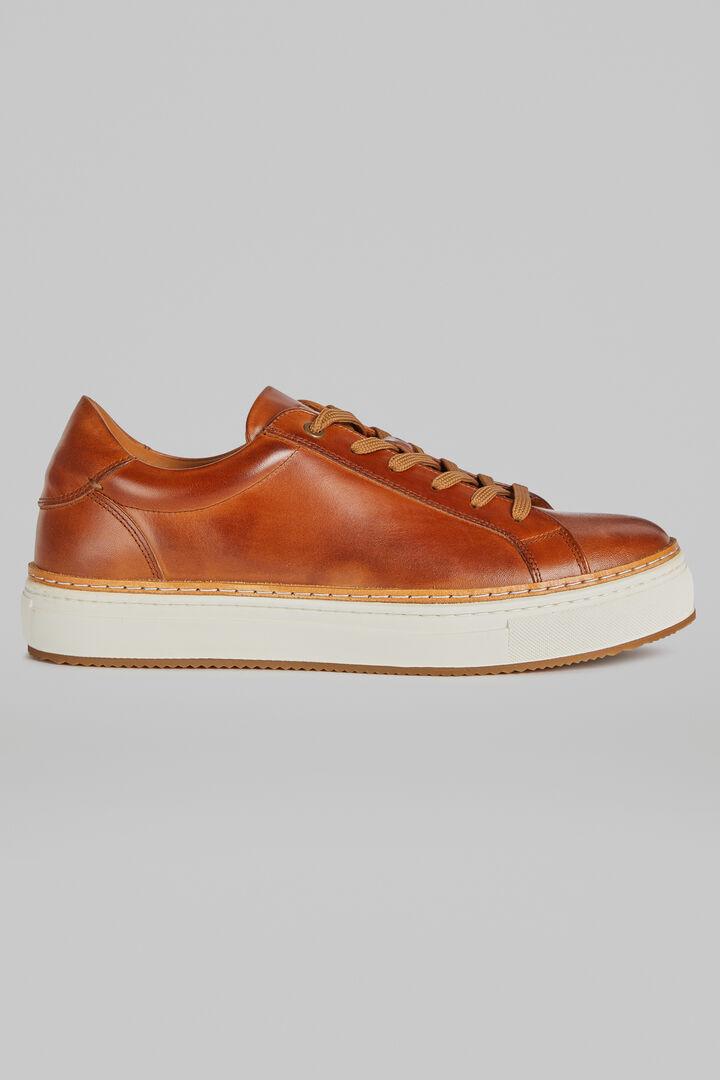 Sneakers En Cuir Lisse, brun cuir, hi-res