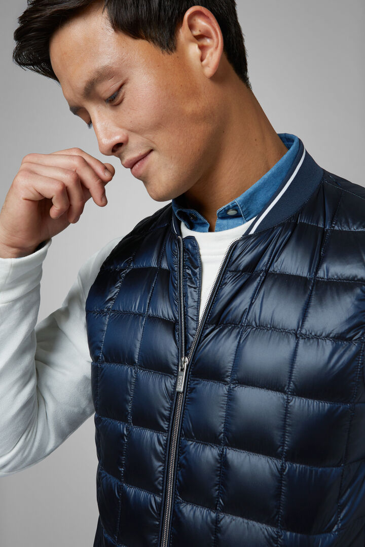 Gilet In Nylon Trapuntato A Quadri In Piuma, Navy, hi-res