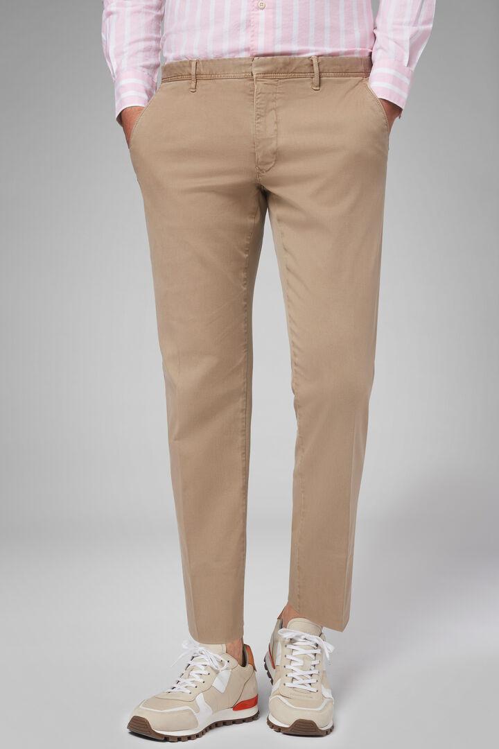 Pantalone In Gabardina Di Cotone Tencel Regular, Beige, hi-res